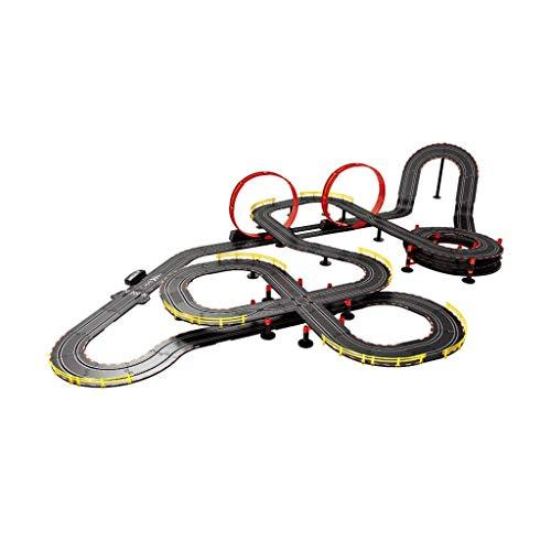 WLGQ 16.8M Pista de Carreras Doble Pista de Montaje Libre Intercambiable Manivela eléctrica Passion Control Remoto Gliding Boy Toy Pista de Carreras Regalo (Color: Eléctrico + manivela + 2 Autos)
