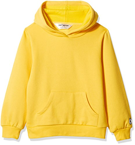 Kid Nation Kids' Soft Brushed Fleece Casual Basic Pullover Hooded Sweatshirt Hoodie for Boys or Girls M Yellow