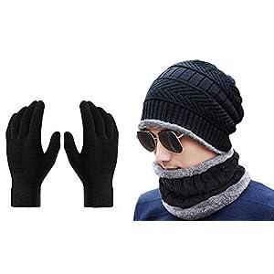 Gajraj Winter Knit Beanie Cap Hat Neck Warmer Scarf and Woolen Gloves Set for Men & Women (3 Piece) 6 41 CnBceUsL. SL500 . SS300