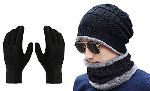 Gajraj Winter Knit Beanie Cap Hat Neck Warmer Scarf and Woolen Gloves Set for Men & Women (3 Piece)