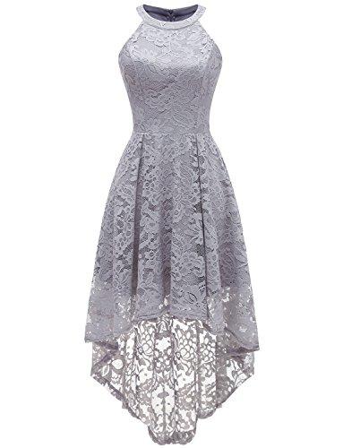 Dressystar 0028 Halter Floral Lace Cocktail Party Dress Hi-Lo Bridesmaid Dress Grey S