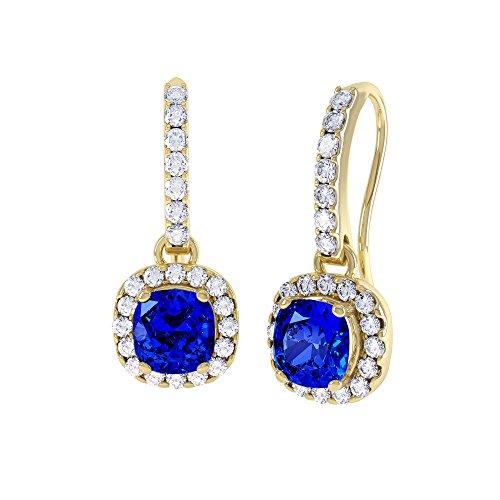 Prinzessin 2 Kt Saphir und Diamant Ohrringe Halo-Silber 925, Pavé-Fassung, Tropfenform, vergoldet