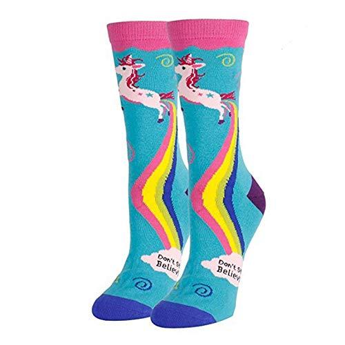 Calcetines de tubo de ocio de otoño e invierno con estampado de caballo de arco iris de unicornio de gran venta Calcetines deportivos de regalo de vacaciones calcetines de dibujos animados
