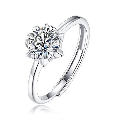 JIARU Anillo de plata de ley 925 para mujer, anillo de compromiso simple, anillo de compromiso y estrella de copo de nieve, anillo de 3 quilates de moissanita anillo de boda para niña anillo de regalo