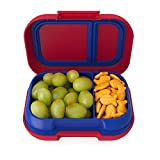 Bentgo Kids Snack - 2 Compartment Leak-Proof Bento-Style Food Storage for Snacks and Small Meals, Easy-Open Latch, Dishwasher Safe, and BPA-Free - Ideal for Ages 3+ (Red/Royal)