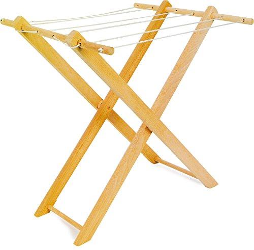 small foot 7252 Holzwäscheständer für Puppenkleider, mit sechs Wäscheleinen, zusammenklappbar, ab 3 Jahren