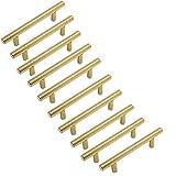 Margueras - 10 tiradores de armario dorados para dormitorio muebles con tornillos y agujeros 128 mm