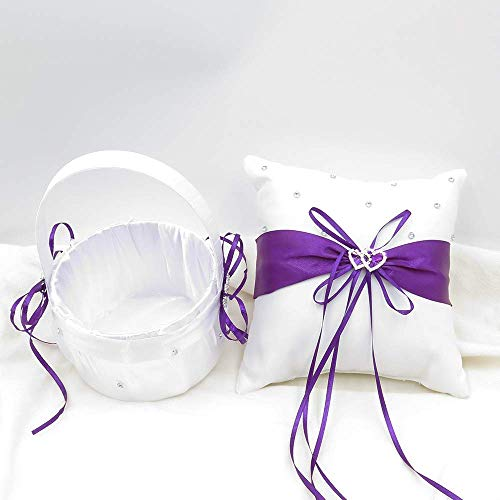 TrueLoveGift Ring Bearer Pillow and Wedding Flower Girl Basket Set Love Rhinestones Satin Collection Wedding Anniversary Celebrations Party Decoration (Blue)