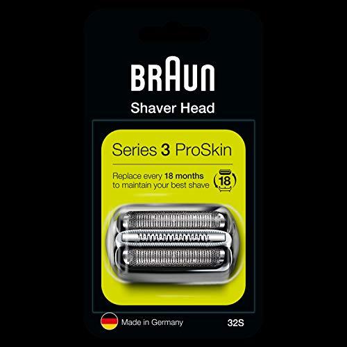 Braun Series 3 32S Cabezal de Recambio Plata para Afeitadora Eléctrica Hombre, Compatible con las Afeitadoras Series 3 ProSkin