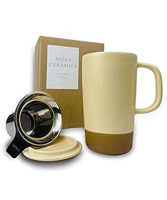 Mora Ceramics Large Tea Mug with Loose Leaf Infuser and Ceramic Lid, 18 oz, Portable, Microwave and Dishwasher Safe, Tall Coffee Cup - Rustic Matte Ceramic Glaze, Modern Herbal Tea Strainer, Almond