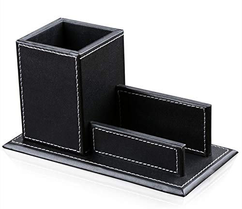 Ansimple ペン立て ペンスタンド 名刺入れ カードスタンド 収納ボックス 収納ケース 小物入れ 整理ボックス PUレザー オフィス用品 ホテル用品 多機能 インテリア 雑貨 (Aタイプ、ブラック)