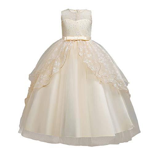Vestido de dama de honor para nias de flores, sin mangas, estampado floral con volantes, tut de tul con lazo, boda, cumpleaos, formal vestido de fiesta largo