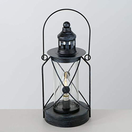 Boltze LED Laterne Zuma Eisen Höhe 28 cm schwarz, Tischdeko, Geschenk, Beleuchtung