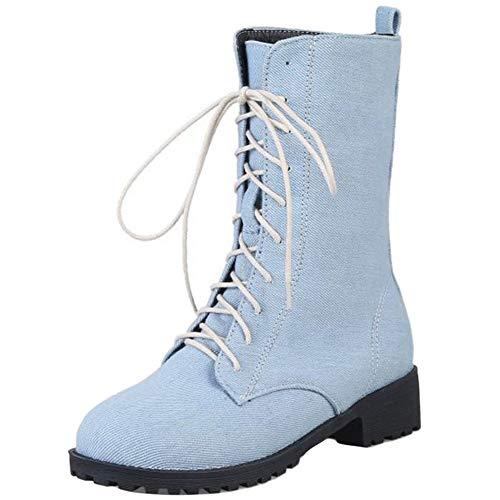 StyliShoes Damen Fashion Flach Canvas Stiefeletten Schnürsenkel Schuhe (Hellblau, 38 EU)