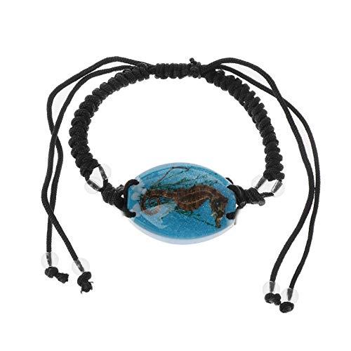 MHOOOA Natürliche im Dunkeln leuchtende echte Seepferdchen geflochtene Schwarze Kordel verstellbare Armbänder