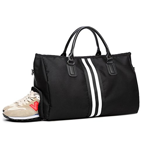 FLM Bolsa de Deporte - Bolsa Plegable para Deporte o Viaje con Compartimento para Zapatos, Color Negro