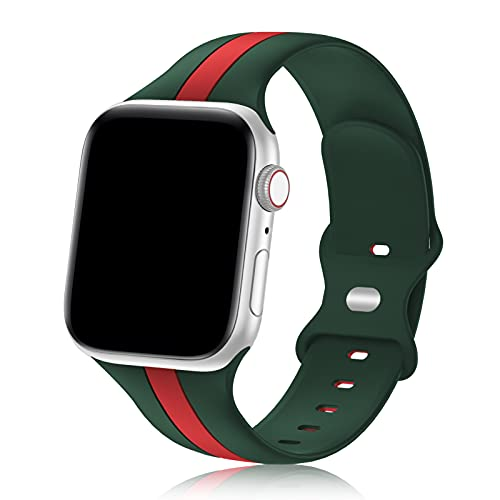 Designer Sport Band Compatible with Apple Watch iWatch Bands 40mm 38mm Men Women, Soft Silicone Strap Wristbands for Apple Watch Series6/5/4/3/2/1/SE [Army Green Red,38mm 40mm]