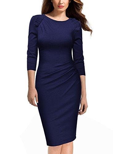 Miusol Damen Abendkleid Rundhals Elegant Kleid 3/4 Arm Etuikleid Cocktailkleid Blau Gr.XL - 2