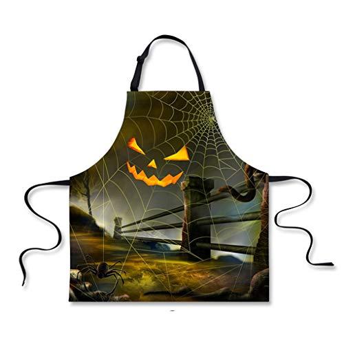 WNMASS Delantal de Cocina de Halloween, Delantal sin Mangas de Cocina, Disfraz Fiesta Cosplay Fantasma Calavera Calabaza Gato Negro
