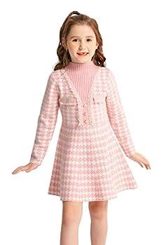 SMILING PINKER Girls Dresses Houndstooth Knitted Sweater Flare Winter Dress Mock Neck  Pink 4-5T
