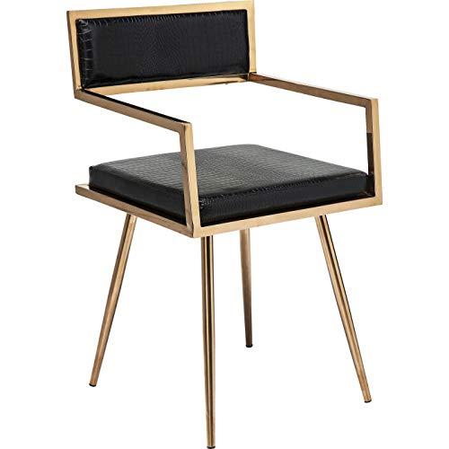 Kare Design Armlehnstuhl Jazz Rosegold, eleganter Stuhl, Schminktischstuhl schwarz, Krokoleder Stuhl, (H/B/T) 81x49x44cm