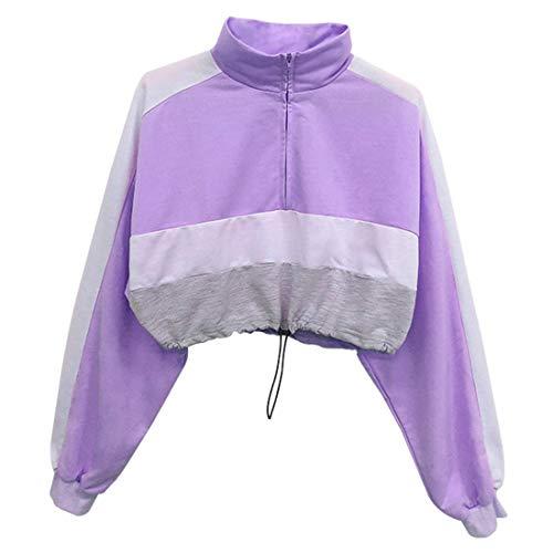 NLZQ Damen Stehkragen Kurz Sweatshirt Langarm 1/4 Zip Frühling und Herbst Neu Locker und bequem Sport Mode Sexy Casual Daily Wear Farbblock Streetwear M