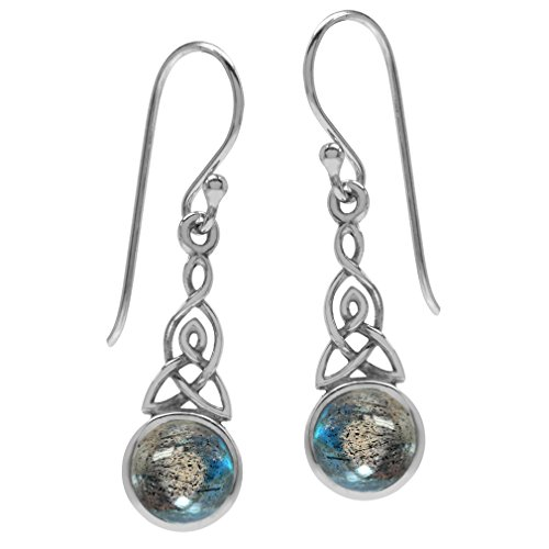 Silvershake Labradorite 925 Sterling Silver Triquetra Celtic Knot Dangle Hook Earrings