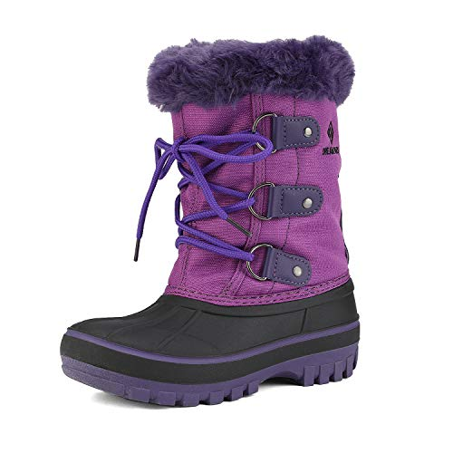 DREAM PAIRS Little Kid Forester Purple Ankle Winter Snow Boots Size 2 M US Little Kid