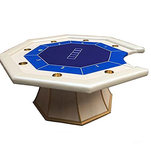Mesa de Póquer de Casino Profesional para 7 Jugadores con Copa y Pata Acampanada, Octagon Texas Hold'em Poker para Blackjack, Club, Juegos Familiares, 180x180x78cm, Azul