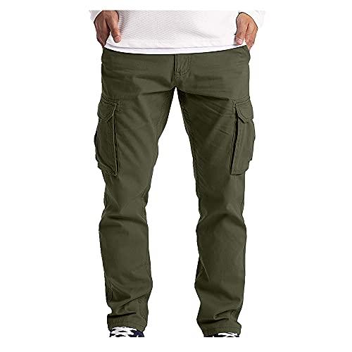 N\P Pantalones casuales de verano para hombre con múltiples bolsillos de pierna recta