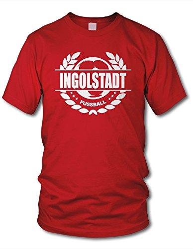 shirtloge - Ingolstadt - Fussball Lorbeerkranz - Fan T-Shirt - Rot - Größe XXL