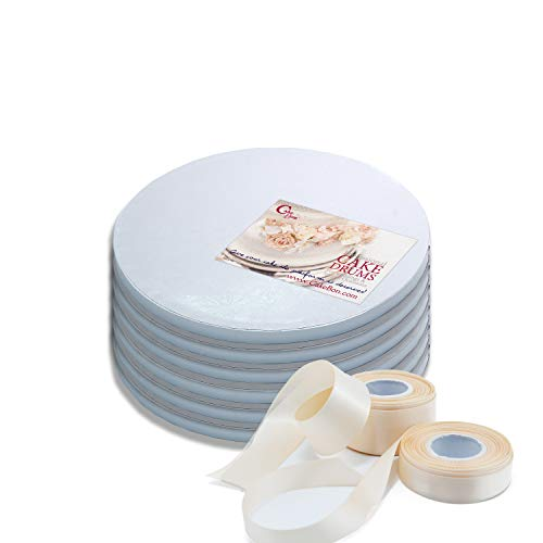 Cake Drums Round 10 Inches - (White, 6-Pack) - Sturdy 1/2 Inch Thick - Professional Smooth Straight Edges - Free Satin Cake Ribbon