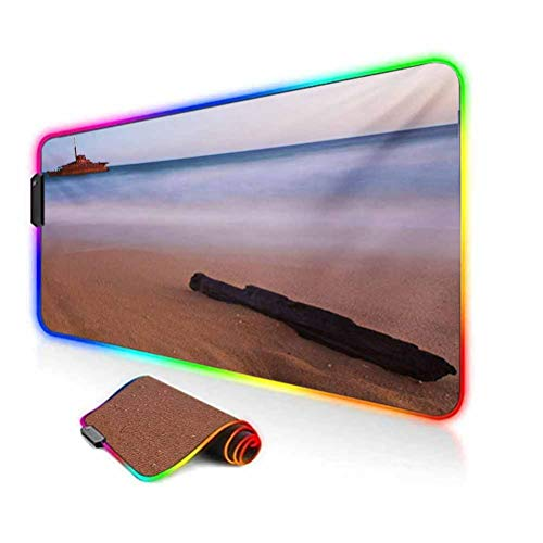 RGB Gaming Mouse Pad Mat,Shipwreck on Beach at Dusk in South Australian Lands by Sea Shore Navy Nautical Non-Slip Mousepad Rubber Base,35.6'x15.7',for MacBook,PC,Laptop,Desk Multicolor