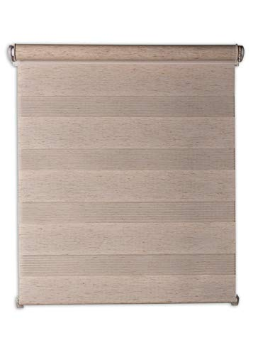 Doppelrollo 130x160cm beige meliert Holzstruktur Klemmfix ohne Bohren Duorollo