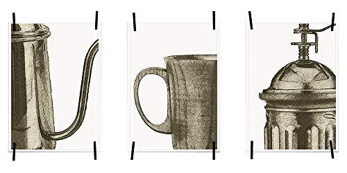 myprinti® Keukenafbeeldingen, posters, foto's voor de keuken, keukenposter, kunstdruk, moderne wanddecoratie, keuken decoratie, koffiekan, koffiekopje, koffiemolen, retro
