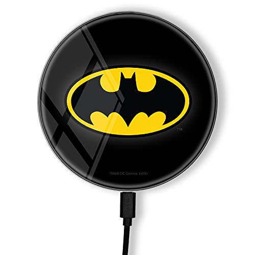 Wireless Charger, Original and Licensed DC Batman Charging Pad, Fast Wireless Charging, Induction, Charge Station, Compatible with Phone and Tablet, Print, USB, 2A, 10W