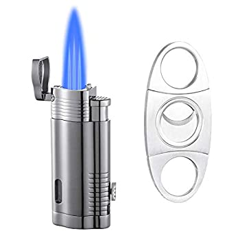 Boonfire Torch Lighters Cigar Lighter Lighter Set and Cigar Cutter Triple Flame Butane Refillable Lighter with Cigar Punch Windproof Lighter Gifts for Men- Sold Without Butane