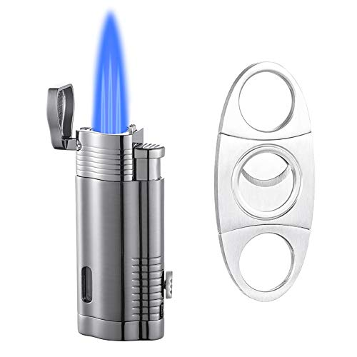 Torch Lighter, Lighter Set and Cigar Cutter, Triple Flame Cigar Lighter with Puncher, Windproof Butane Refillable Gas Torch Lighters(Sold Without Butane)
