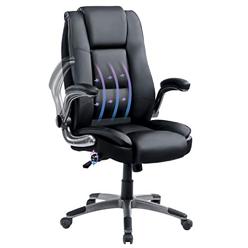 KBEST High Back Bonded Leather Office Chair - Adjustable Lumbar Support, Flip-Up Arms and Tilt Angle Executive Computer Desk Swivel Chair, Thick Padding and Ergonomic Design