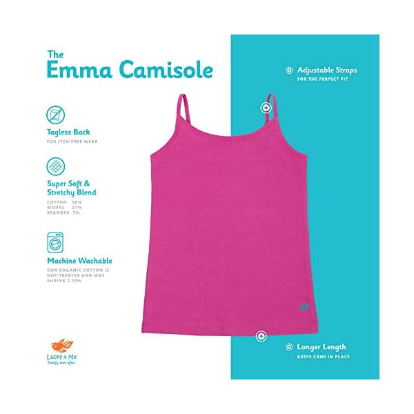 Lucky & Me | Emma Girls Camisoles | Longer Length w/Adjustable Straps | Tagless | Wear on Its Own Or Layering Top | 3-Pack