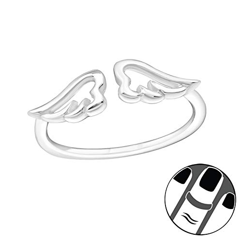 ICYROSE 925 Sterling Silver Open Angel Wings Above Knuckle Ring Mid Finger Top Stacking or can use for Toe Ring Summer Women's Adjustable 19930