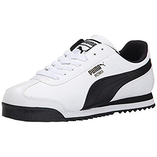 PUMA Men's Roma Basic Fashion Sneaker, White/Black Leather - 9 D(M) US