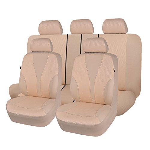 Flying Banner Panno Tessuto Universale Coprisedili Auto Sedili con Airbag Laterale (Beige)