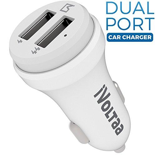 iVoltaa 2.4A Dual Port Car Charger - White