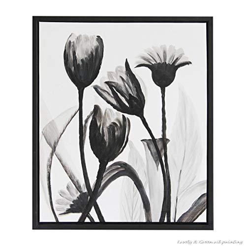 Frameloze moderne tulp woondecoratie muurschildering olie op zwart/witte bloem olie op canvas zonder rand <> 40x60cm