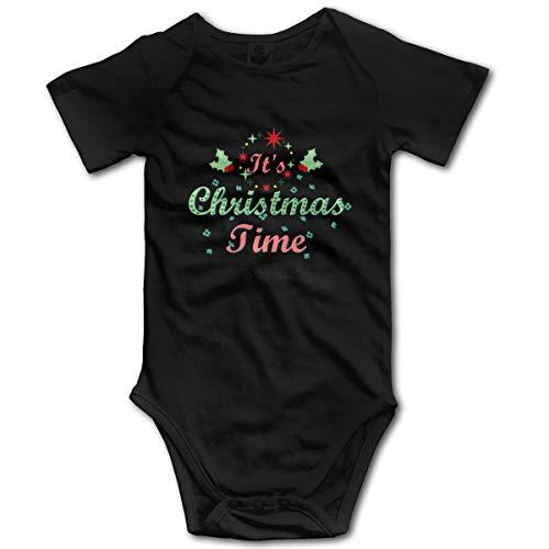 It's Merry Christmas Time Best Wishes GILR Boy Kids Mameluco del bebé de Manga Corta para bebés y niños pequeños(18M,Negro)