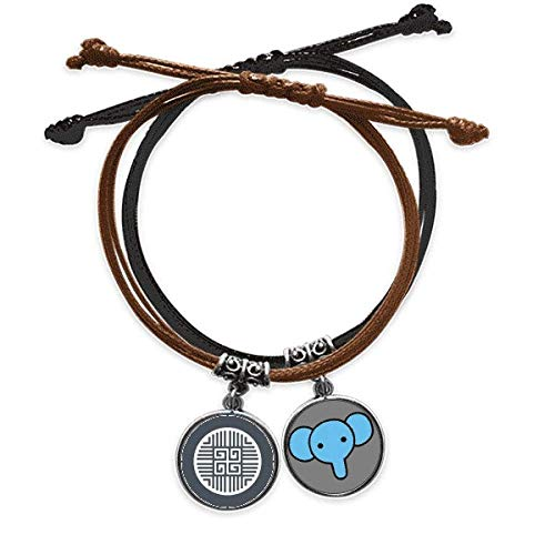 CaoGSH Traditional Four Blessings China Symbol Bracelet Rope Hand Chain Leather Elephant Wristband