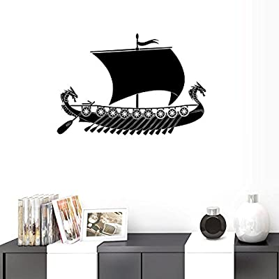 BIBITIME Vinyl Sailboat Wall Decal Silhouette Sticker Home Art Mural for Living Room Bedroom Kids Room Decor