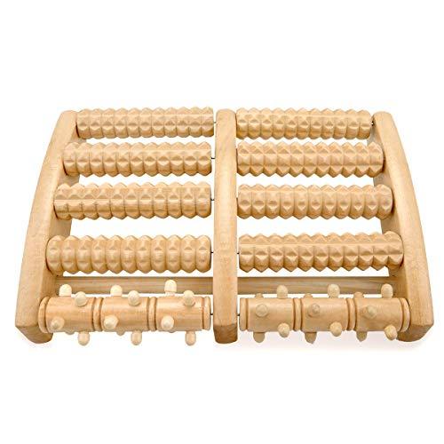 Osaloe Fußmassageroller, Dual Fußroller aus Holz für Ödeme, Plantarfasziitis, Fuß Schmerzlinderung, Stressabbau