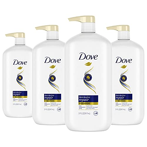 Dove Nutritive Solutions Shampoo for Damaged Hair with Pump Intensive Repair Dry Hair Shampoo Formula with Keratin Actives 31 oz, Pack of 4